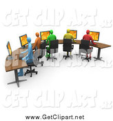 Clip Art of a 3d Diverse Office Workers Using Computers on a Curved Desk by 3poD