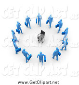 Clip Art of a 3d Empty Chair Encircled by Unemployed Blue Business Men by 3poD