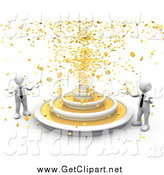 Clip Art of a 3d Fountain Spraying Gold Coins down on Two White Business People by 3poD