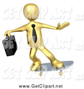 Clip Art of a 3d Gold Business Guy Skateboarding by 3poD