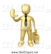 Clip Art of a 3d Gold Business Man Gesturing to Stop by 3poD