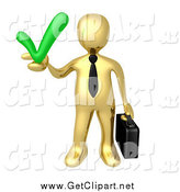 Clip Art of a 3d Gold Business Man Holding a Green Check Mark by 3poD