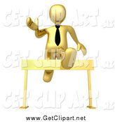 Clip Art of a 3d Gold Business Man Leaping over a Hurdle by 3poD