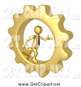 Clip Art of a 3d Gold Business Man Running in a Cog Wheel by 3poD
