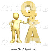 Clip Art of a 3d Gold Guy Leaning Against a Stacked Questions and Answers Icon by 3poD