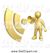 Clip Art of a 3d Gold Man Announcing RSS with a Megaphone Bullhorn by 3poD
