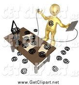 Clip Art of a 3d Gold Man Being Attacked by Spam Email at a Desk by 3poD