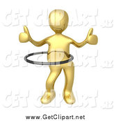 Clip Art of a 3d Gold Man Giving Two Thumbs up and Using a Hula Hoop by 3poD
