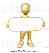 Clip Art of a 3d Gold Man Holding an Oval Blan Sign by 3poD