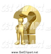 Clip Art of a 3d Gold Man in Thought by a Giant Question Mark by 3poD