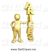 Clip Art of a 3d Gold Man Leaning Against the Word PRICES by 3poD