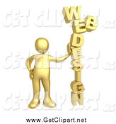 Clip Art of a 3d Gold Man Leaning Against the Words WEB DESIGN by 3poD