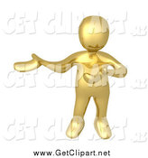 Clip Art of a 3d Gold Man Presenting to the Left by 3poD