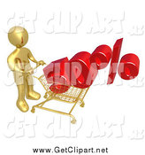Clip Art of a 3d Gold Man Pushing a 50 Percent Discount in a Shopping Cart by 3poD