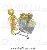 Clip Art of a 3d Gold Man Pushing a Shopping Cart Full of Gifts by 3poD