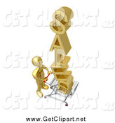 Clip Art of a 3d Gold Man Pushing SALES in a Cart by 3poD