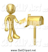 Clip Art of a 3d Gold Man Putting Mail in a Mailbox by 3poD