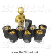 Clip Art of a 3d Gold Man Sorting Garbage by 3poD