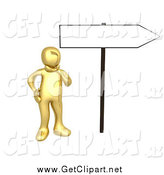 Clip Art of a 3d Gold Man Thinking by a Blank Directional Sign by 3poD
