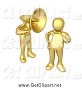 Clip Art of a 3d Gold Man with a Headphone Head, Shouting in a Person's Ear by 3poD