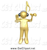 Clip Art of a 3d Gold Person with a Music Note Head by 3poD