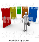 Clip Art of a 3d Gray Person Standing Before Colorful Doors of Opportunities by 3poD