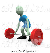 Clip Art of a 3d Green Man Crouching to Lift a Barbell by 3poD