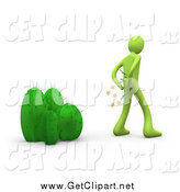 Clip Art of a 3d Green Man Pulling Cactus Needles out of His Butt by 3poD