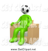 Clip Art of a 3d Green Man with a Soccer Ball Head by 3poD