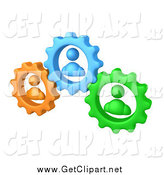 Clip Art of a 3d Green, Orange and Blue People Inside Gears by 3poD