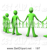 August 7th, 2015: Clip Art of a 3d Green People Hand in Hand, Standing in a Circle of Support by 3poD