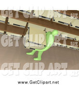 Clip Art of a 3d Green Person Carrying a Box past Shelves in an Office by 3poD