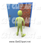 Clip Art of a 3d Green Person Facing a Brick Wall, Through an Open Door by 3poD