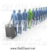 Clip Art of a 3d Green Person Standing out in a Line of Blue People by 3poD