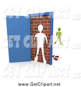 Clip Art of a 3d Green Person Walking Away After Barging Through a Brick Wall in an Open Door by 3poD