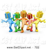 Clip Art of a 3d Group of Colorful People with Present Heads, Dancing at a Party by 3poD
