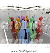 Clip Art of a 3d Group of Diverse Colorful Corporate Business Men Waiting Patiently in an Elevator by 3poD