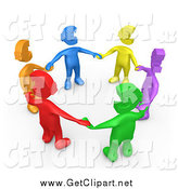 Clip Art of a 3d Group of Diverse Colorful People with Euro Heads, Standing in a Circle and Holding Hands by 3poD