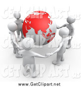 Clip Art of a 3d Group of Five White People Holding Hands Around a Globe with Asia Featured by 3poD