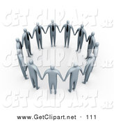 Clip Art of a 3d Group of Gray Businessmen in Ties, Standing Hand in Hand and Forming a Circle by 3poD
