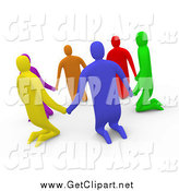 Clip Art of a 3d Group of Kneeling Diverse People Holding Hands in a Circle by 3poD