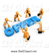 Clip Art of a 3d Group of Orange Business Me Walking in Towards Blue Offer Text by 3poD