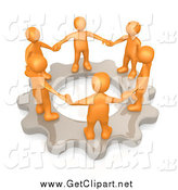 Clip Art of a 3d Group of Orange Business People Holding Hands and Standing in a Circle on a Cog Gear, Symbolizing Teamwork and Support by 3poD