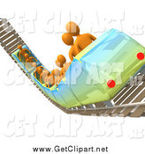 Clip Art of a 3d Group of Orange People Riding a Roller Coaster on Rails in an Amusement Park by 3poD