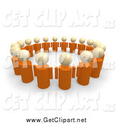 Clip Art of a 3d Group of Orange People Standing in a Circle of Support by 3poD