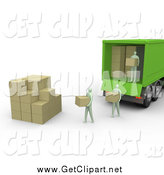 Clip Art of a 3d Group of People Carrying Boxes from a Green Delivery Truck and Stacking Them in a Cube Shape by 3poD