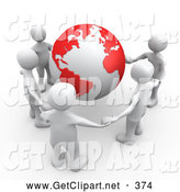 Clip Art of a 3d Group of White People Holding Hands Around a Globe with Red Continents by 3poD