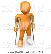 Clip Art of a 3D Injured Orange Person with a Cast on His Broken Foot, Using a Pair of Crutches to Get Around by 3poD