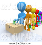 Clip Art of a 3d Line of Colorful People Donating Funds by 3poD