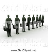Clip Art of a 3d Line of Dark Businessemen Carrying Briefcases and Waiting by 3poD